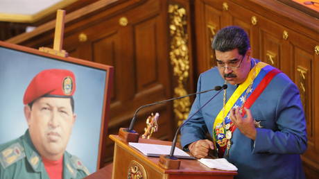 Venezuela's President Nicolas Maduro delivers his annual state of the nation speech during a special session of the National Constituent Assembly, in Caracas, Venezuela January 12, 2021