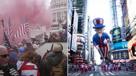 (L) A cloud of colored smoke appears as a mob of supporters of US President Donald Trump storm the US Capitol Building in Washington, January 2021. © REUTERS / Leah Millis; (R) The Uncle Sam balloon in Macy's Thanksgiving Day parade on November, 2011 in New York City. © Getty Images / Michael Nagle