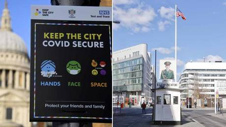 (L) A public health information sign during the spread of the coronavirus disease pandemic, London, Britain, January 7, 2021.© REUTERS / Toby Melville; (R) The former Berlin Wall border crossing point Checkpoint Charlie in Berlin, Germany, March 22, 2020. © REUTERS / Michele Tantussi