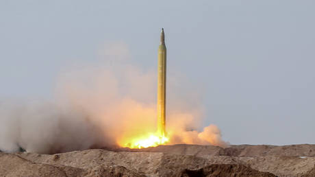 A ballistic missile is launched by Iran's Revolutionary Guard Corps (IRGC) in an unknown location in central Iran.