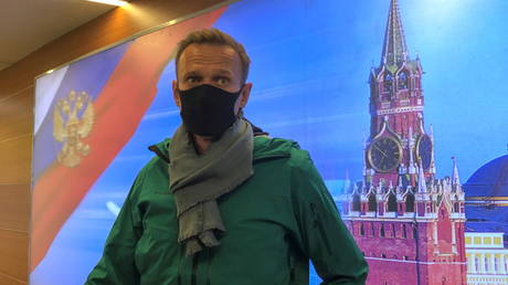 Russian opposition leader Alexey Navalny speaks with journalists upon the arrival at Sheremetyevo airport in Moscow, Russia January 17, 2021.