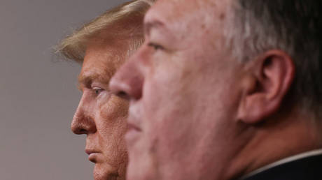 FILE PHOTO: Donald Trump and Mike Pompeo