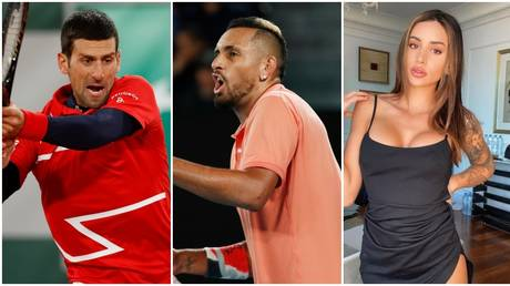 Kyrgios (C) had choice words for Djokovic (L) and Sierra (R) over their quarantine complaints. © Reuters / Instagram @vanessa5ierra