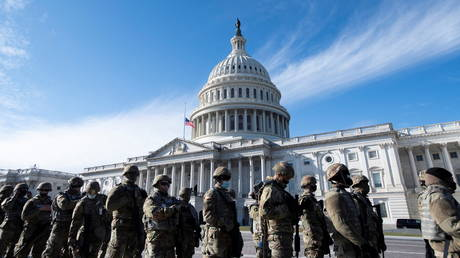 Members of the US National Guard pictured outside the US Capitol in Washington, DC, January 18, 2021 © Rod Lamkey / Reuters