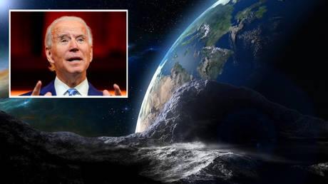 Six asteroids will greet Joe Biden taking the oath of office. © Marcelo Celo/ Pixabay; inset: Reuters/ Joshua Roberts