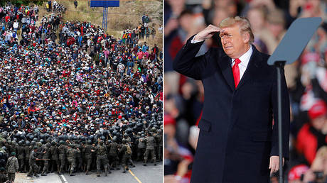 (L) Hondurans taking part in a new caravan of migrants set head to the United States, clash with Guatemalan soldiers as they try to cross into Guatemalan territory, in Vado Hondo, Guatemala January 17, 2021. © REUTERS/Luis Echeverria; (R) U.S. President Trump © REUTERS/Brian Snyder