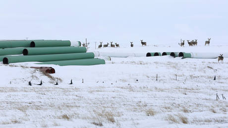 A depot used to store pipes for Transcanada Corp's planned Keystone XL oil pipeline is seen in Gascoyne, North Dakota, January 25, 2017. © REUTERS/Terray Sylvester