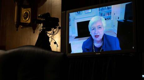 Janet Yellen participe à distance à une audience du Comité des finances du Sénat à Washington, DC, le 19 janvier 2021 © Reuters / Anna Moneymaker