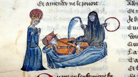 Death and dying, from an illuminated manuscript published by the Bodleian Library, Oxford. ©Heritage Images via Global Look Press