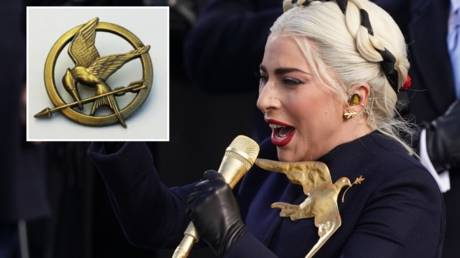 (L) A replica Mockingjay pin; (R) Lady Gaga sings the national anthem during the inauguration of Joe Biden in Washington, DC, January 20, 2021.