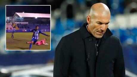 Football boss Zinedine Zidane watched Real Madrid lose to Alcoyano in the Copa del Rey © Twitter / PremierSportsTV | © Juan Medina / Reuters