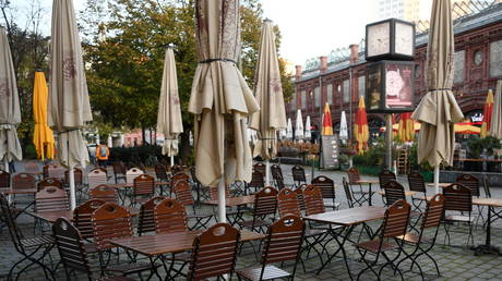 Empty chairs and tables on the first day of the temporary closing of restaurants, as Covid-19 continues to spread in Berlin, November 2, 2020.