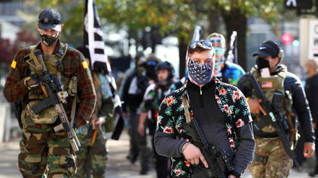 FILE PHOTO: Armed demonstrators take part in a pro-gun rally in Richmond, Virginia.