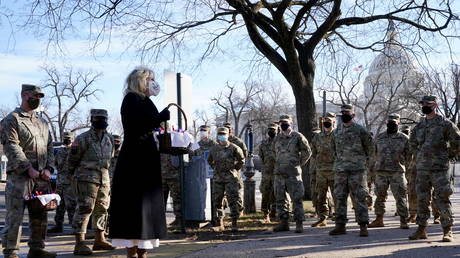 US first lady Jill Biden surprises National Guard members outside the Capitol with chocolate chip cookies, in Washington, US, January 22, 2021