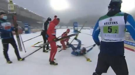 'He went crazy': Russian team disqualified after skier clashes with Finnish rival before PLOWING INTO him at finish line (VIDEO)