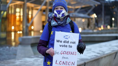 FILE PHOTO: An anti-Brexit protester holds a sign outside the Scottish Parliament in Edinburgh, Britain December 31, 2020.
