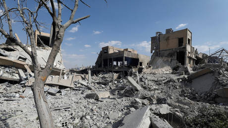 FILE PHOTO: The destroyed Scientific Research Centre is seen in Damascus, Syria April 14, 2018