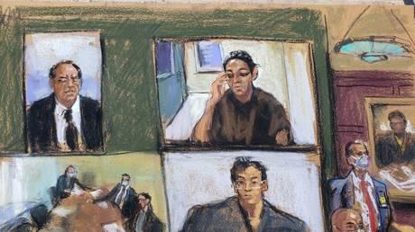 FILE PHOTO: Ghislaine Maxwell appears via video link in Manhattan Federal Court, in the Manhattan borough of New York City, New York, U.S. July 14, 2020 © REUTERS/Jane Rosenberg
