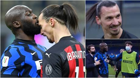 Lukaku and Ibrahimovic collided in the Milan derby. © Reuters / Twitter @RaiSport