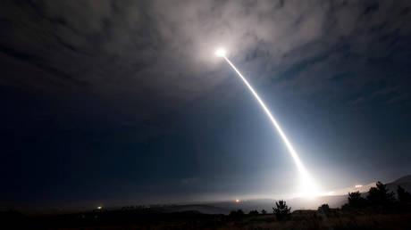 FILE PHOTO: An unarmed Minuteman III intercontinental ballistic missile launches during an operational test at 2:10 a.m. Pacific Daylight Time at Vandenberg Air Force Base, California, U.S., August 2, 2017.