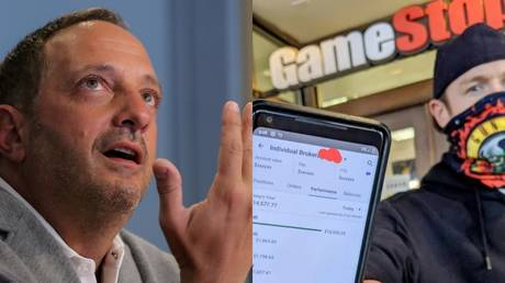 (L) Andrew Left, the founder of Citron Research © REUTERS/Brendan McDermid; (R) A reddit user poses outside a GameStop outlet with a stock trading app © Reddit.com / u/GUNSNROSE5;