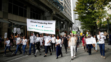 Biden's EO echoes the agenda of activists seen here during a 'Climate Strike' in Seattle, Washington, September 20, 2019.