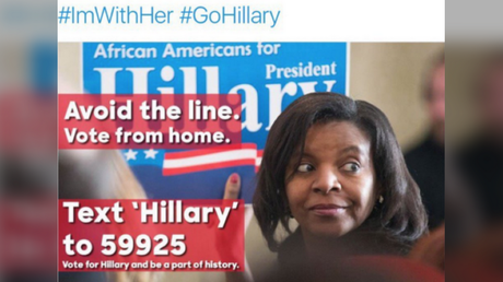 A Twitter screenshot shows the type of ad that Douglass Mackey allegedly used to trick Hillary Clinton supporters into trying to cast their vote by text message.