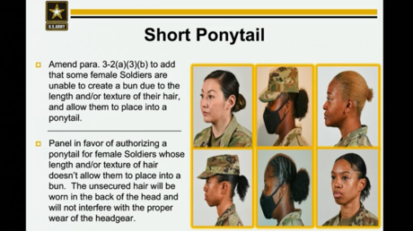 A screenshot from a US Army presentation shows a rule change allowing for short ponytails.