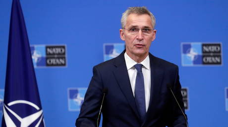 FILE PHOTO: NATO Secretary General Jens Stoltenberg gives a press briefing after a meeting with President of Mauritania Mohamed Ould El-Ghazouani at the Alliance headquarters in Brussels, Belgium, January 14, 2021.