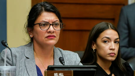 "FILE PHOTO: Reps. Rashida Tlaib (D-MI) and Alexandria Ocasio-Cortez (D-NY) listen as Acting Homeland Security Secretary Kevin McAleenan testifies before the House Oversight and Reform Committee on ""Trump Administration's Child Separation Policy"" on Capitol Hill in Washington, U.S., July 18, 2019."