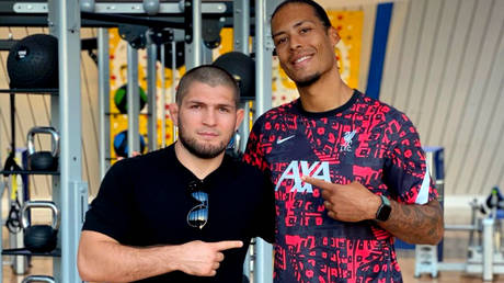UFC great Khabib Nurmagomedov has posed with Liverpool football star Virgil van Dijk in Dubai © Instagram / khabib_nurmagomedov