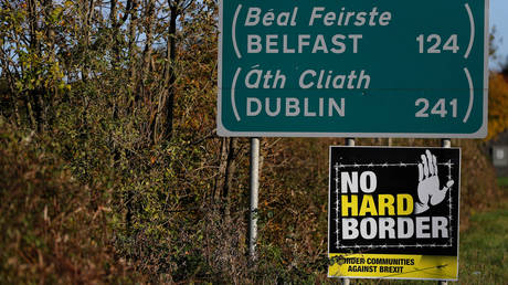 A road sign on the Irish side of the border between Ireland and Northern Ireland near Bridgend, Ireland