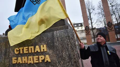 Nationalist march in Ukraine marking Stepan Bandera's 109th birthday, in Lviv.