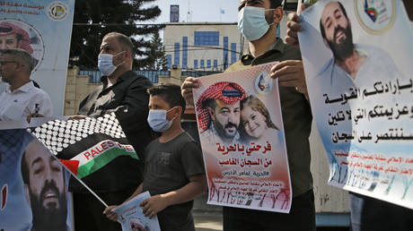 A rally in support of Palestinian prisoners in Gaza City. © Mohammed Abed / AFP