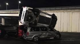 Former employee steals industrial loader & destroys 50 vans after ramming gate at Mercedes-Benz factory in Spain