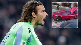 'Thank God no one was hurt': Football star has $365k Ferrari mangled by car wash worker in smash - but his reaction earns praise