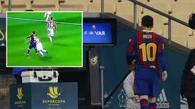 'Best left foot but also best right hand!': Messi earns FIRST EVER Barca red after lashing out in Spanish Super Cup loss (VIDEO