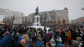 Moscow police detain Navalny supporters staging unsanctioned rally to demand release of jailed opposition figure