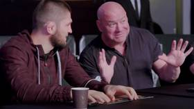 Dana getting desperate? UFC president spotted trying to convince Khabib to return during UAE Warriors MMA event (VIDEO)