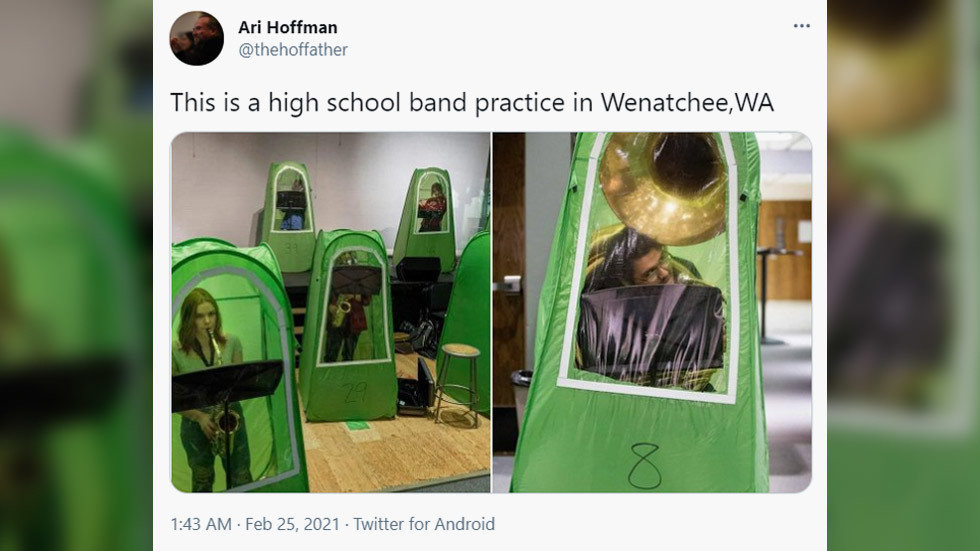'Stop this child abuse now!': Washington high school band practice in anti-Covid TENTS gets ridiculed
