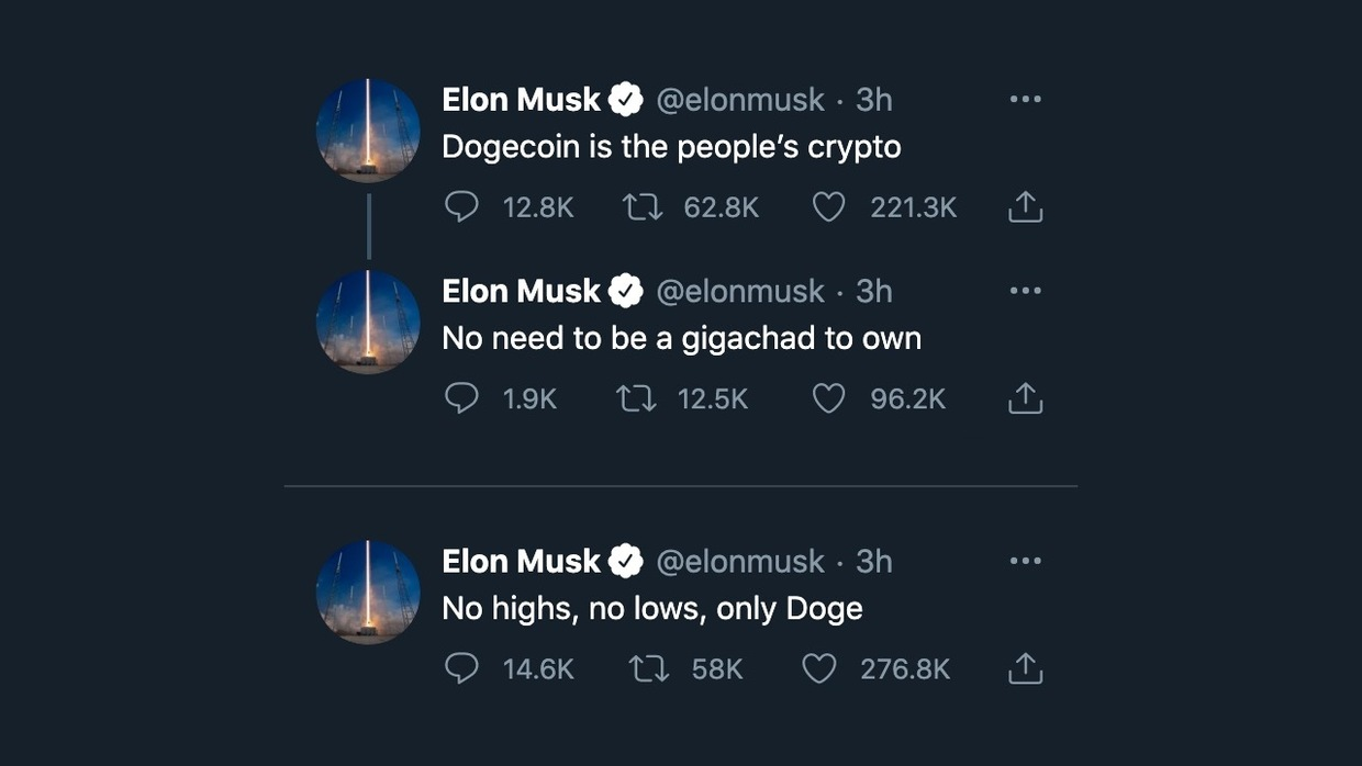 One word tweet from Elon Musk launches crypto dogecoin into the ...