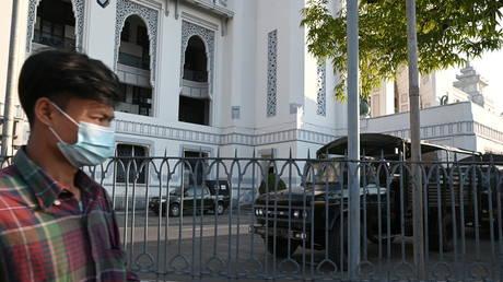 Myanmar military vehicles are seen inside City Hall in Yangon, Myanmar February 1, 2021. © REUTERS/Stringer