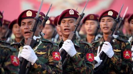 FILE PHOTO: Members of Myanmar's armed forces