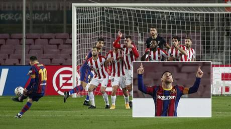 Messi curled in a stunning free-kick against Athletic Bilbao. © Reuters
