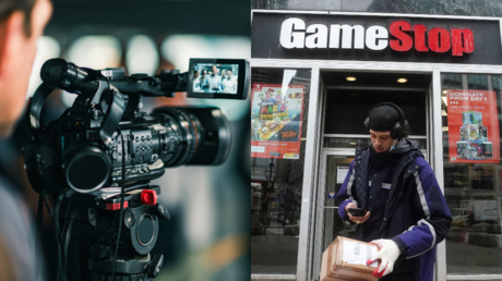A film camera seen alongside a GameStop branch in New York © Getty Images and Reuters / Carlo Allegri