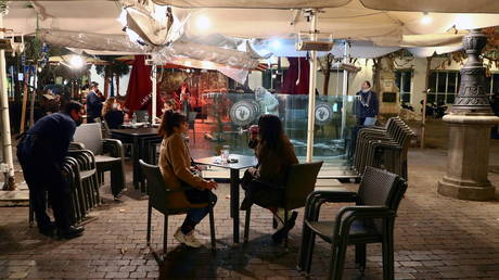 A restaurant terrace in Madrid, January 25, 2021
