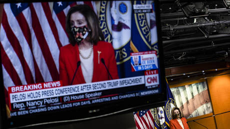 FILE PHOTO: Nancy Pelosi during a press conference at the US Capitol on January 15, 2021 in Washington, DC