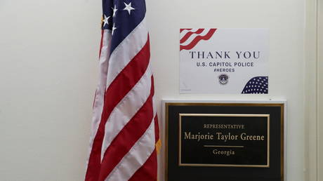 Rep. Marjorie Taylor Greene's office inside the US Capitol, January 29, 2021.