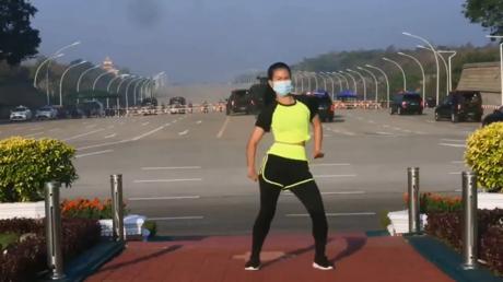 Oblivious Myanmar aerobics teacher's workout video captures military coup d'etat unfolding live