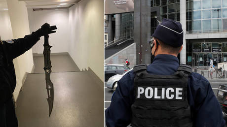 The attacker was armed with an elaborate sword. © Police Nationale; REUTERS/Gonzalo Fuentes